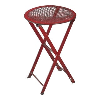 Foldable red metal stool, Germany, 1950s For Sale