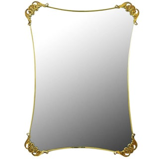 Brass Regency Mirror with Foliate Corner Brackets For Sale