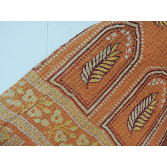 Vintage Orange and Red Hand Quilted Indian Throw For Sale - Image 4 of 8