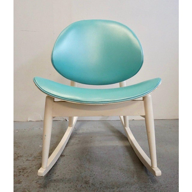 Rare rocker version of Kodawood's Oyster Chair, in original white finish and aqua upholstery. Would be perfect in a mid...