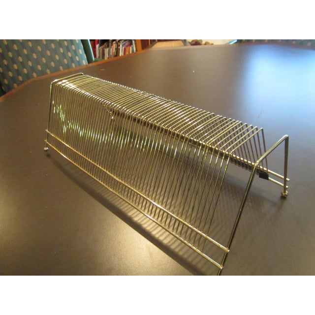 Vintage Brass Record Album Storage Stand For Sale - Image 4 of 9
