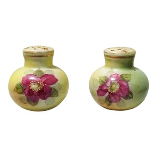 Antique Nippon Hand-painted Celery Green & Pink Floral Porcelain Salt & Pepper Shakers - a Pair For Sale