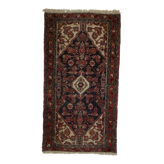 Antique Hand Knotted Wool Persian Hamedan Rug - 2′5″ × 4′6″ For Sale
