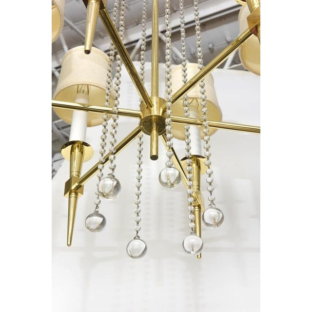 Gold Polished Brass and Glass Beaded Chandelier by Tommi Parzinger For Sale - Image 8 of 10