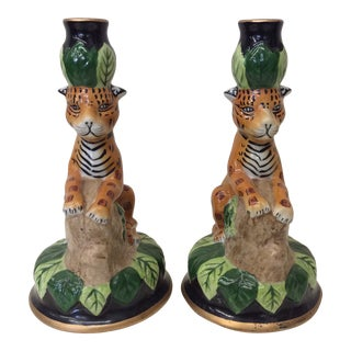 Hollywood Regency Ceramics Cheetah Candle Holders - a Pair For Sale