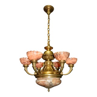 Antique chandelier alabaster and gilt bronze For Sale