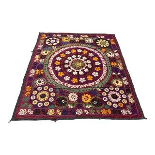 Vintage Suzani Floral Center Bedspread For Sale