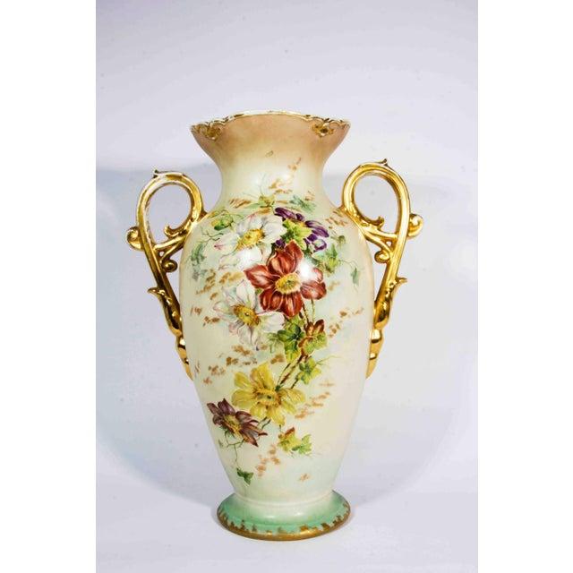 Art Nouveau Antique French Porcelain Decorative Vase / Piece With Handle For Sale - Image 3 of 4
