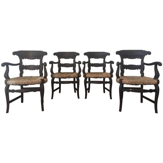 19th Century Set of Four Armchairs with Straw Seat For Sale - Image 11 of 11