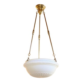 1910s Frosted Glass Bowl Light Fixture