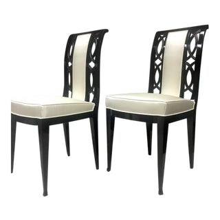Austrian Refined Black Lacquered Chairs Covered in Silk For Sale
