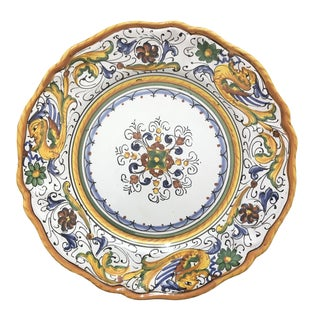 Deruta of Italy Hand Painted Wall Plate For Sale