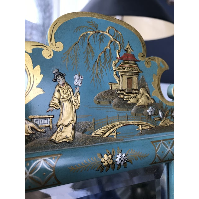 1970s Vintage Mid Century Chinoiserie Teal Lacquered Pagoda Textured Painting Dressing Mirror For Sale - Image 4 of 12