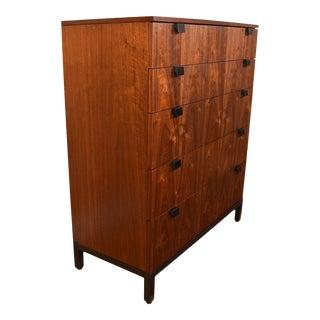 1950's American Modernist Tall Gorgeous Walnut Dresser For Sale