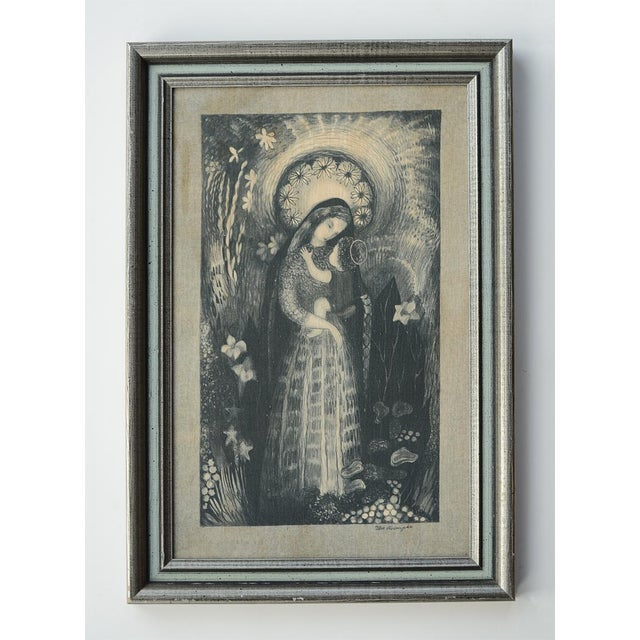 Gorgeous mid century Madonna and Child textile wallhanging by Swedish artist Ilse Roempke (1907-1999). Roempke was a...