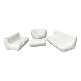 Michael Ducaroy Togo Style White Vinyl Sectional - Set of 4 For Sale