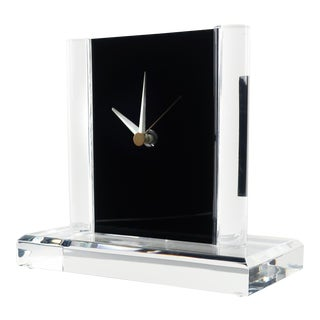 Vintage Clear & Black Lucite Clock For Sale