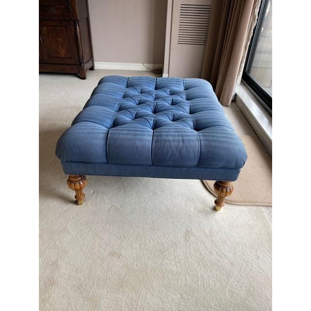Robert Allen Vintage Periwinkle Blue Robert Allen Upholstery Ottoman For Sale - Image 4 of 12