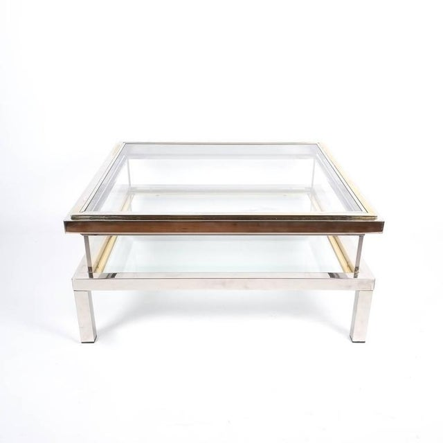 Maison Jansen Refurbished Maison Jansen Brass and Chrome Coffee Table with Interior Display For Sale - Image 4 of 8