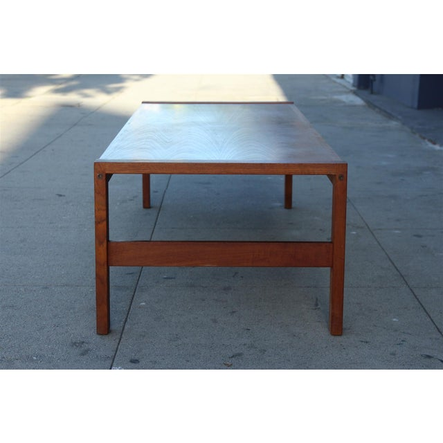 Wood Long Rectangular Cocktail Table in Solid Teak For Sale - Image 7 of 11