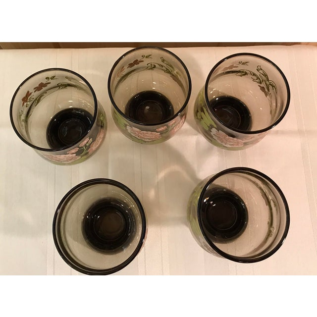 Mid-Century Modern Smoked Glasses With Embossed Design - Set of 5 For Sale - Image 4 of 11
