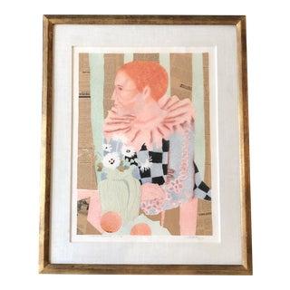 Original Vintage Jacque Boeri Collaged Portrait Painting 1976 For Sale