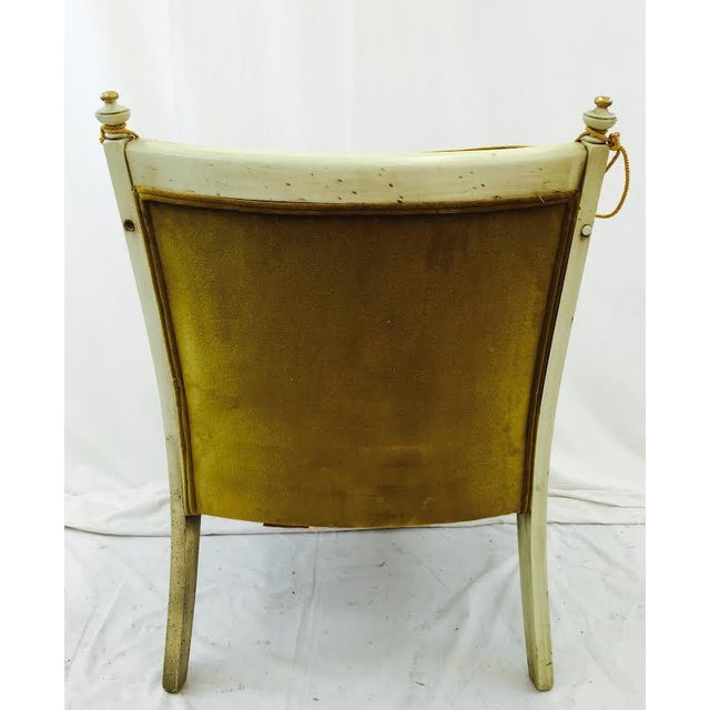French-Style Gold Velvet & Cane Armchair - Image 10 of 11