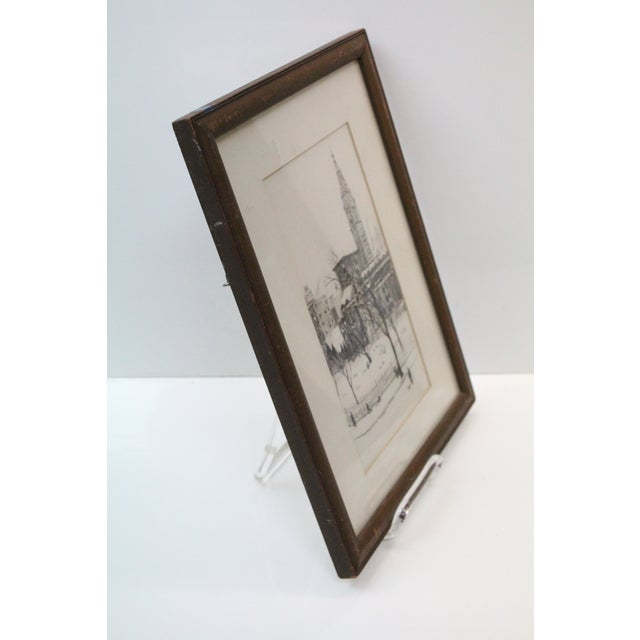 Beautiful 1976 Roger Dennis etching of Gramercy Park in New York City. In black and white with wooden frame.