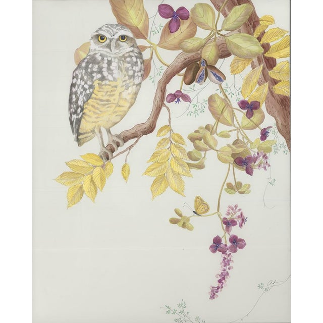 """""""Owl You Need Is Love"""" Botanical Bird Painting by Allison Cosmos For Sale"""