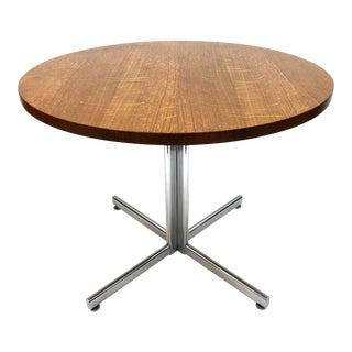 Stendig Mid Century Modern Oak & Chrome Table For Sale