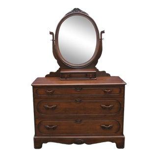 Davis Cabinet Company Vintage 1941 Walnut Single Dresser With Mirror Lillian Russell Model 230 For Sale