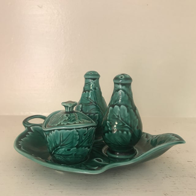 Wedgwood Green Majolica Condiment Set For Sale - Image 11 of 11
