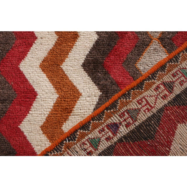1910s Antique Gabbeh Geometric Beige-Brown and Red Wool Persian Rug For Sale - Image 5 of 5