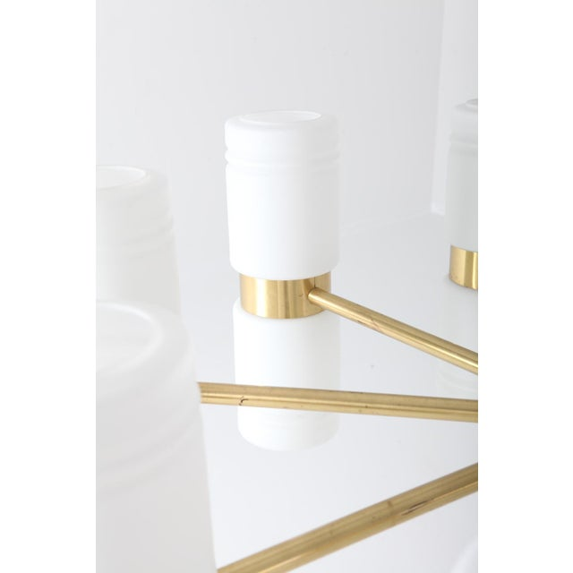 Gold Hans-Agne Jakobsson Brass and Milky Opaline Glass Chandelier For Sale - Image 8 of 10