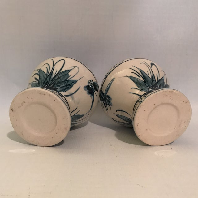 Hand Painted Blue and White Porcelain Vases - a Pair For Sale In Charlotte - Image 6 of 12
