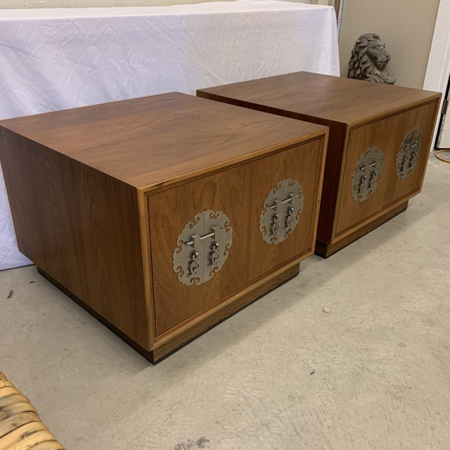 Asian Solid Walnut Asian Chest End Tables -A Pair For Sale - Image 3 of 11