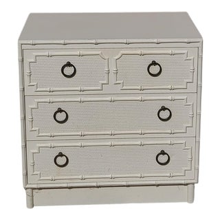 Vintage Omega Faux Bamboo and Rattan 3 Drawer Dresser For Sale