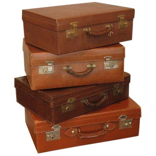 1910s Vintage English Leather Luggages-Set of 4 For Sale