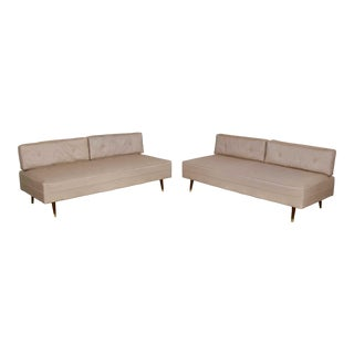 Mid-Century Modern White Vinyl Faux Silk Look Daybeds or Convertible Sofas or Sectional, a Pair For Sale
