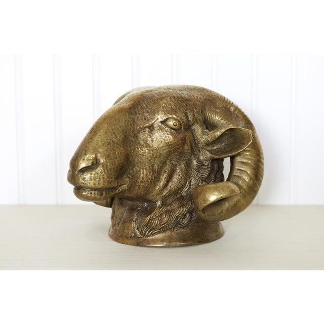 Vintage Big Horn Sheep Brass Ram Statue For Sale - Image 4 of 12