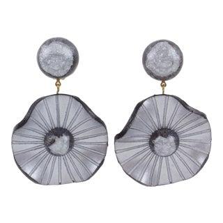 Francoise Montague Paris Clip-On Earrings Pearl Gray Resin Dangle Flower For Sale