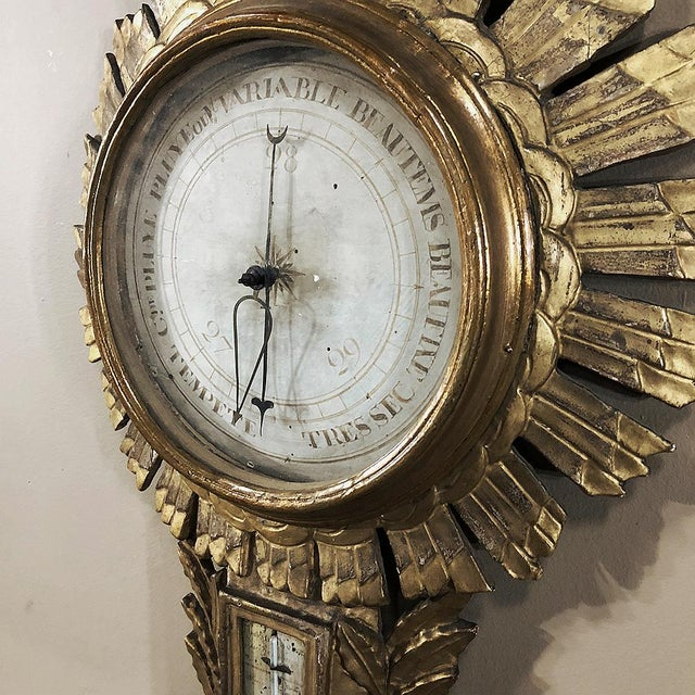 18th Century French Louis XVI Giltwood Barometer ~ Thermometer For Sale - Image 11 of 13