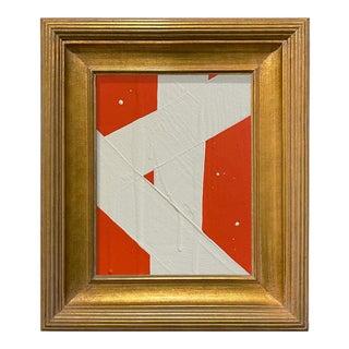 Ron Giusti Mini Abstract Orange Cream Acrylic Painting, Framed For Sale