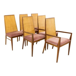 Mid Century Modern Dillingham Espirit Caned Dining Chairs - Set of 6 For Sale