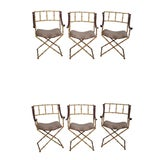 Image of Custom Faux Bamboo X Base Dining Chairs - Set of 6 For Sale