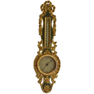 Louis XVI Giltwood Barometer and Thermometer For Sale