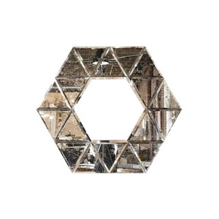 Large Hexagonal Antiqued Mirror For Sale