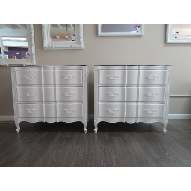 Wood Vintage French Glass Top Chest-A Pair For Sale - Image 7 of 9