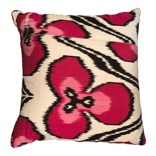 Contemporary Madeline Weinrib Hot Pink Ikat Pillow For Sale