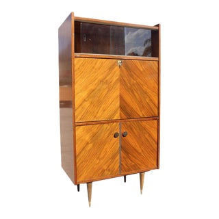 Beautiful French Art Deco Exotic Walnut Bar / Credenza Drop Down Front Circa 1940s